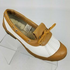 Ugg Ashdale Duck Shoes White Brown Leather Sz 9.5